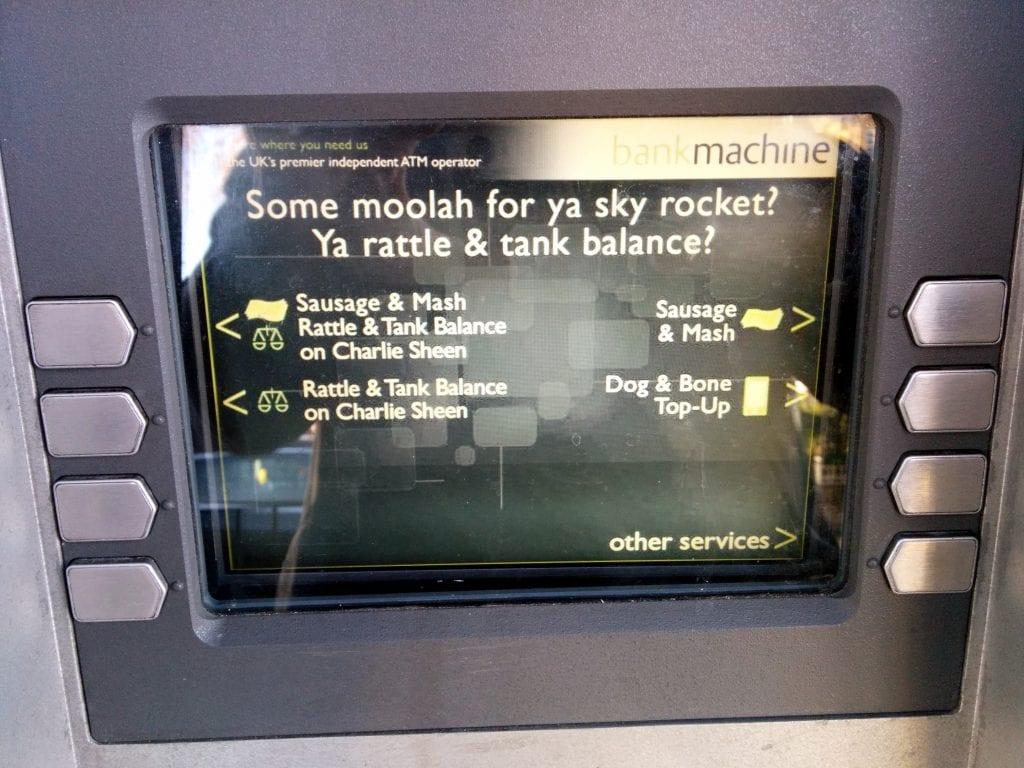 MakoStars LLC/ Cockney rhyming slang ATM 2 Co Op grocery Hackney Road Hackney London UK